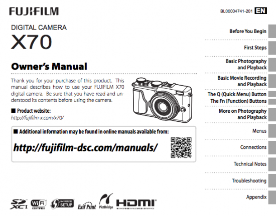 Fujifilm X70 camera owners manual