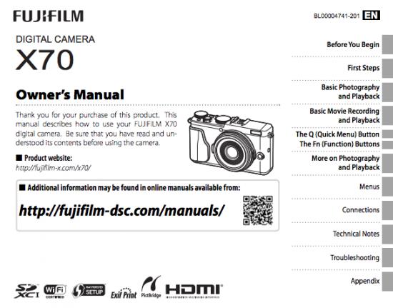 Fujifilm X70 camera owners manual