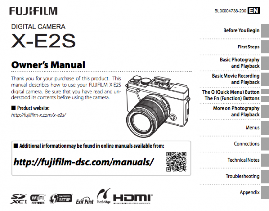 Fujifilm XX-E2S camera owners manual