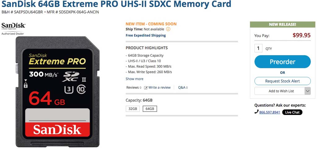 New Fast SanDisk Extreme PRO UHS-II SDXC Cards Available For Preorder ...