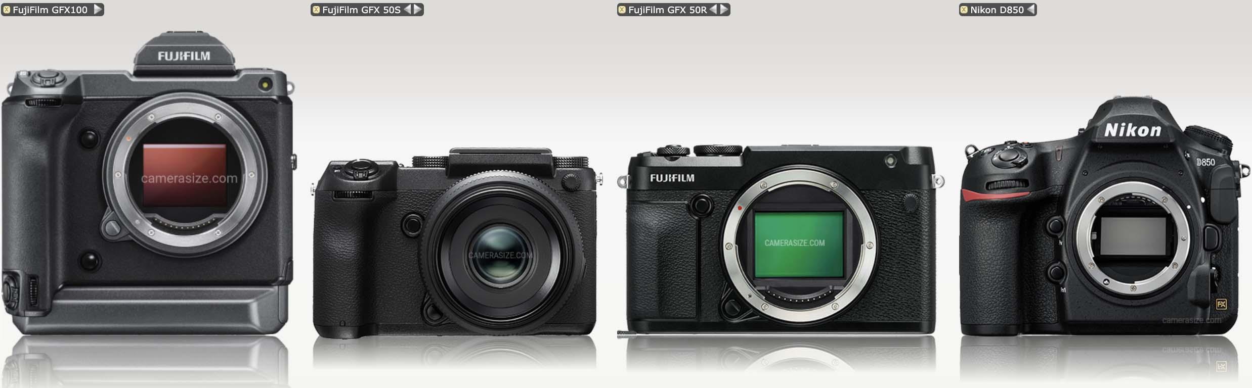 CameraSize: Fujifilm GFX 100 vs GFX50S vs GFX50R vs D850 vs D5 vs 1D