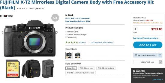 Fujifilm X-T2 Now Back Down to $799