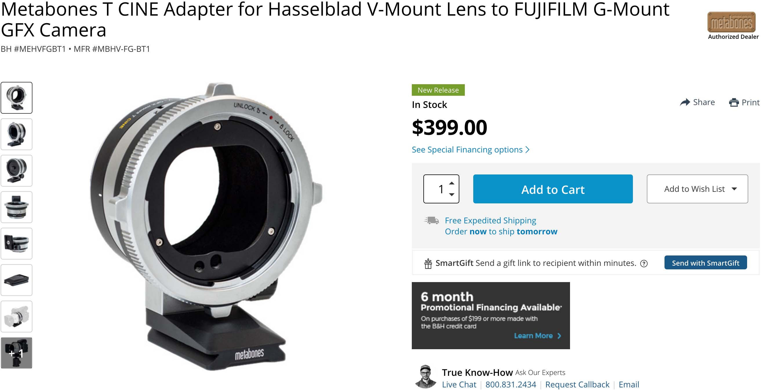 Now Available Metabones Hasselblad V to Fuji G mount (GFX